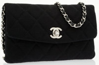 Chanel Black Quilted Cotton Wallet on Chain with Classic Silver Chain Strap