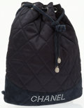Luxury Accessories:Bags, Chanel Navy Blue Quilted Satin & Suede Drawstring Backpack. ...