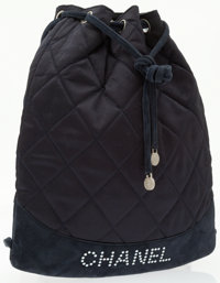 Chanel Navy Blue Quilted Satin & Suede Drawstring Backpack