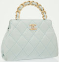 Luxury Accessories:Bags, Chanel Light Blue Quilted Lambskin Leather Evening Bag with Gold Hardware. ...