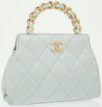 Chanel Light Blue Quilted Lambskin Leather Evening Bag with Gold Hardware