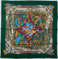"""Luxury Accessories:Accessories, Hermes Green & Burgundy """"Tropiques,"""" by Laurence Bourthoumieux Silk Scarf. ..."""