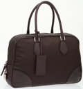 Luxury Accessories:Bags, Prada Brown Leather & Nylon Large Classic Bowling Bag. ...