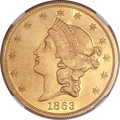 Liberty Double Eagles, 1863 $20 -- Improperly Cleaned -- NGC Details. AU....