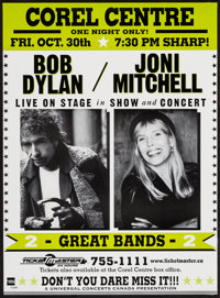 "Bob Dylan & Joni Mitchell (Universal Concerts, 1998). Canadian Concert Poster (17"" X 23""). Rock and Ro..."