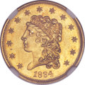 Classic Quarter Eagles, 1834 $2 1/2 MS63 NGC. Breen-6138, Variety 1, R.1....