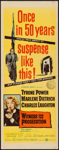 """Movie Posters:Mystery, Witness for the Prosecution (United Artists, 1958). Insert (14"""" X 36""""). Mystery.. ..."""