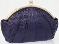 Luxury Accessories:Accessories, Judith Leiber Purple Snakeskin Large Clutch Bag. ...