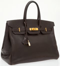 Luxury Accessories:Bags, Hermes 35cm Marron Fonce Calf Box Leather Birkin Bag with GoldHardware. ...