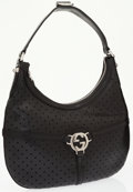 Luxury Accessories:Bags, Gucci Black Perforated Leather Small Hobo Bag. ...