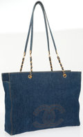 Luxury Accessories:Bags, Chanel Blue Denim Jumbo Tote Bag. ...