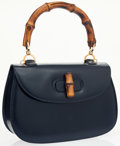 Luxury Accessories:Bags, Gucci Navy Blue Leather Classic Bamboo Top Handle Bag with ShoulderStrap. ...