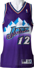 Basketball Collectibles:Uniforms, 1997-98 John Stockton Signed Game Issued Utah Jazz Jersey....