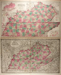 Books:Maps & Atlases, [Maps]. [Joseph Hutchins Colton, O.W. Gray]. Two Hand-Colored Maps Depicting Kentucky and Tennessee. Ca. 1876. Both measure ...