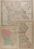 Books:Maps & Atlases, [Maps]. [Samuel Augustus Mitchell, Joseph Hutchins Colton, et al].Three Hand-Colored Maps Depicting Missouri and Illinois. ...