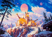 GREG and TIM HILDEBRANDT (American, b. 1939) Odin's Palace Acrylic on paper laid on board 17 x 24