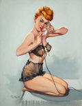 Pin-up and Glamour Art, T.J. (TED) KUCK (American, d. 2008). Pin-Up on the Phone, Brown& Bigelow calendar illustration. Oil on canvas board. 28...