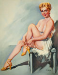 Pin-up and Glamour Art, T.J. (TED) KUCK (American, d. 2008). Blonde Pin-Up Dressing,Brown & Bigelow calendar illustration. Oil on canvasboard...