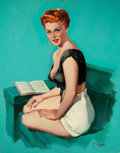 Pin-up and Glamour Art, T.J. (TED) KUCK (American, d. 2008). Red-Haired Pin-Up Reading,Brown & Bigelow calendar illustration. Oil on canvas boa...