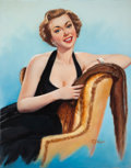 Pin-up and Glamour Art, T.J. (TED) KUCK (American, d. 2008). Brunette Beauty in a BlackDress, Brown & Bigelow calendar illustration. Oil on can...