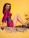 Pin-up and Glamour Art, T.J. (TED) KUCK (American, d. 2008). Brunette Pin-Up in Red,Brown & Bigelow calendar illustration. Oil on canvasboard...