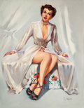 Pin-up and Glamour Art, T.J. (TED) KUCK (American, d. 2008). Brunette Beauty in a Robe,Brown & Bigelow calendar illustration. Oil on canvas boa...