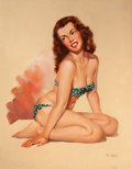 Pin-up and Glamour Art, T.J. (TED) KUCK (American, d. 2008). Brunette Beauty in a GreenBikini, Brown & Bigelow calendar illustration. Oil on ca...