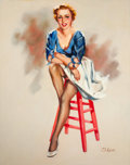 Pin-up and Glamour Art, T.J. (TED) KUCK (American, d. 2008). Seated Pin-Up, Brown &Bigelow calendar illustration. Oil on canvas board. 28 x 22 ...