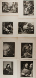 Books:Prints & Leaves, [Titian, Rembrandt, Da Vinci at al]. Group of Eight Engravingsafter Paintings by European Masters. Most depict religious th...