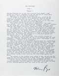 Autographs:Authors, Mario Puzo. The Godfather Typescript Signed. Measures 8.5 x11 inches. Minor wrinkling, else fine. ...