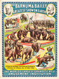 "Movie Posters:Miscellaneous, Barnum and Bailey; 24 Monster and Baby Performing Elephants(Strobridge Litho Co., 1896). Poster (30.25"" X 40.25"").. ..."