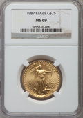 Modern Bullion Coins: , 1987 G$25 Half-Ounce Gold Eagle MS69 NGC. NGC Census: (1334/9). PCGS Population (443/3). Mintage: 131,255. Numismedia Wsl. ...