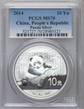 China:People's Republic of China, 2014 10 Yuan Panda Silver (1 oz), MS70 PCGS. PCGS Population (10296). NGC Census: (0)....