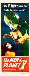 """Movie Posters:Science Fiction, The Man from Planet X (United Artists, 1951). Insert (14"""" X 36"""").. ..."""