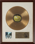 Music Memorabilia:Awards, Beatles Abbey Road RIAA Gold Record Award (Apple 383, 1969)....