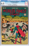 Golden Age (1938-1955):Superhero, World's Finest Comics #14 (DC, 1944) CGC FN+ 6.5 Off-white to white pages....