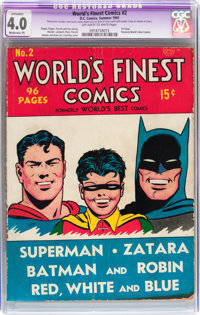 World's Finest Comics #2 (DC, 1941) CGC Apparent VG 4.0 Moderate (P) Off-white to white pages
