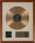 Music Memorabilia:Awards, Pink Floyd Dark Side of the Moon RIAA Gold Record Award(Harvest 11163, 1973)....