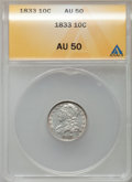 Bust Dimes: , 1833 10C AU50 ANACS. NGC Census: (9/257). PCGS Population (20/210).Mintage: 485,000. Numismedia Wsl. Price for problem fre...