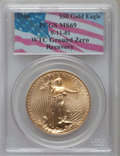 Modern Bullion Coins, 1998 G$50 One-Ounce Gold Eagle MS69 PCGS. 09/11/2001 World Trade Center Recovery. PCGS Population (1741/73). NGC Census: (1...