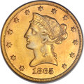 Liberty Eagles, 1865-S $10 865 Over Inverted 186 AU53 PCGS....