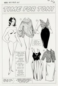 "Original Comic Art:Splash Pages, Al Hartley - Modeling with Millie #44 Paper Doll Splash Page ""Timefor Toni"" Original Art (Marvel, 1965). Toni models four s..."