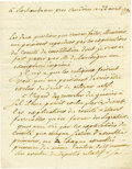 "Autographs:Military Figures, Rochambeau Manuscript Letter Signed ""le Cte de Rochambeau,""1.5 pages, 6"" x 7.75"", front and verso. At Rochambeau near V...(Total: 1 Item)"