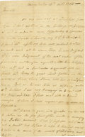 """Autographs:Military Figures, Moses Hazen Autograph Letter Signed """"Moses Hazen,"""" two pages, 7.5"""" x 12"""". Manchester, [N.H.], October 16, 1783. With 12""""..."""
