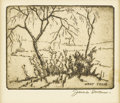 Texas:Early Texas Art - Regionalists, JAMES SWANN (1905-1985). West Texas. Etching. 3in. x 3.5in..Signed and titled lower right. In 1931 James Swann did hi...