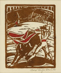 Texas:Early Texas Art - Regionalists, MABEL FAIRFAX KARL (1901-1990). Bullfight, 1939. Woodblock.7in. x 6in.. Signed and dated lower right. ...