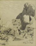 Texas:Early Texas Art - Drawings & Prints, HARRY ANTHONY DEYOUNG (1893-1956). Rocks- Davis Mountains,Texas, 1934. Pencil on paper. 10in. x 8in.. Signed, datedand...