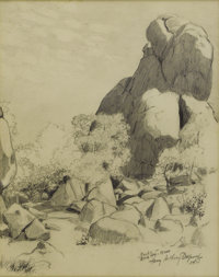 HARRY ANTHONY DEYOUNG (1893-1956) Rocks- Davis Mountains, Texas, 1934 Pencil on paper 10in. x 8in. Signed, dated and