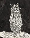 Texas:Early Texas Art - Regionalists, MARY AUBREY KEATING (1894-1953). Owl at Night, 1930's. Penand ink. 10.75in. x 8in.. Signed lower right. ...