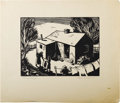 Texas:Early Texas Art - Drawings & Prints, DOW SIMPSON (dec.). Monday, early 1940's. Woodblock. 6in. x8in.. Signed lower right. Titled lower left. Dow Simpson w...